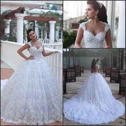 2017 New Design Ball Gown Wedding Dresses Lace Sweetheart Appliques Corset Back Court Train Wedding Bridal Gowns Custom Made