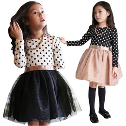 PrettyBaby 2016 new arrival 2colors kids girls princess dress long sleeves England style dot dress free shipping