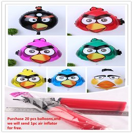 Wholesale Foil Balloons Party Decoration x45cm Angry Bird Cartoon Animals Balloon Children Gifts Party Supplies Aluminum Film Balloons Colors