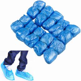 Грязно-белый ковер Онлайн-100pcs / pack Одноразовые синие пластиковые одноразовые непромокаемые водонепроницаемые ботинки для обуви Домашний коврик для чистки обуви Голубой Розовый Белый