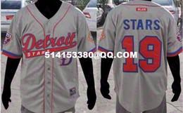Wholesale High grade Men s Detroit Stars Short Sleeve Negro League Baseball Jersey Retro Throwback Gray Jersey embroidery jerseys
