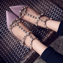 Brand Design Stylish Woman Pointed Patent Leather Shoes With Double Buckle Flat Shoe Party And Daily Flat Shoes