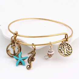 Wholesale Alex And Ani Bracelets Adjustable Charm Statement Bracelets Gold Bangle With Anchor Sea Horse Charms Jewelry