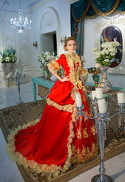 100%real red golden ruffled venice carnival ball gown Medieval Renaissance Gown queen costume Victorian dress  Marie Antoinette  Belle ball