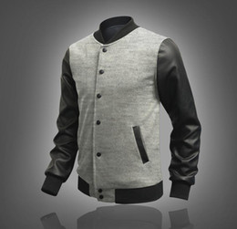 2017 coton ouaté korean veste de baseball 2015 Automne coréenne nouvelle arrivée outwear mode veste Splice chandail d'hommes Baseball Hoodies de manteau des hommes en noir pour hommes coton ouaté korean veste de baseball à vendre