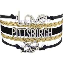 Custom-Infinity Love National Hockey League Pittsburgh Penguins Ice Hockey Team Fans Bracelet Adjustable Bracelet Bangles-Drop Shipping
