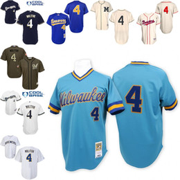 Wholesale Blue Throwback Paul Molitor Replica Jersey Men s Mitchell And Ness Milwaukee Brewers