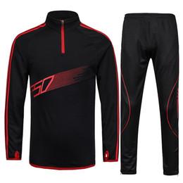 Men Sport Running Football Set Long Jacket Pants Suit Kids Soccer Training Skinny Leg Pants Pantalon F50 warm-ups Tracksuits Sportswear