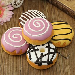 Wholesale Beautiful Design cm Sweet Roll Charms Big Kawaii Multy mood Bread Squishy Cell Phone Bag Strap Top Quality