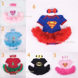 Wholesale Baby Christmas Xmas Supergirl Batman Frozen rompers set suits happy birthday Newborn anna rompers Hair band cake dress B001