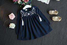 Wholesale New girls dresses cotton fashion natinal embriodery flower birds Tassels loose baby dress long sleeve Children clothes Autumn