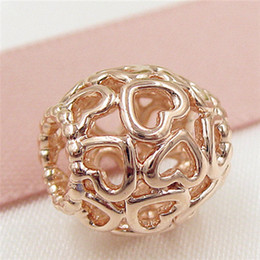 925 Sterling Silver & Rose Gold plated Open Your Heart Bead Fits European Jewelry Bracelets & Necklaces & Pendants