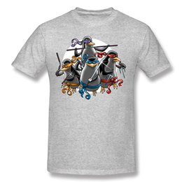 Ninja Penguins 6XL Mens T Shirts Homme T Shirts Printed Male Natural Cotton Custom Family T Shirt Cheap Natural Cotton Custom Work Tshirts