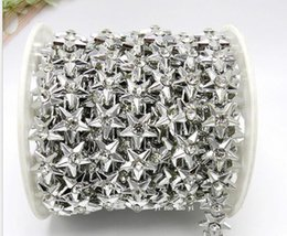 20yard Five-pointed star Beads Rhinestones UV Plated Chain Trim For Sewing Apperal Bag Shoes Cap Collar Decoration