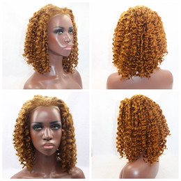 Hot Sexy 150% short brown kinky curly hair Wigs with baby hair glueless brazilian Synthetic lace front wigs for black women Heat Resistant