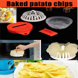 Wholesale Bake potato Chips Homemade Microwave Oven Maker Cutter Machine Tools Grill Basket Fat Free Slicer Plate Kitchen supplies