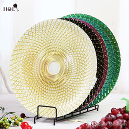 Wholesale different color decoration glass charger plate for wedding