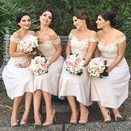 Nude Pink off shoulder tea length bridesmaid dresses short cheap lace appliques backless satin plus size maid of honor party cocktail gowns