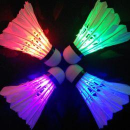 Wholesale-Free shipping New Lighting Badminton Dark Night Colorful LED Lighting Sport Badminton Light Spot Shuttlecock