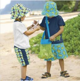Stockage pour les jouets en Ligne-50pcs Fashion Beach Mesh Sacs Sand Away Collection Toy Bag Stockage Pour Sea Shell Enfants Enfants Tote Organisateur Stockage Sacs 24 * 24cm