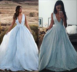Wholesale 2016 New Design Sky Blue Luxury Detail Skirt Prom Party Formal Dresses Deep V neck Beaded Crystal Dresses Evening Pageant Dress Belle