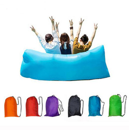 Wholesale Nylon lazy laybag Fast Inflatable hangout Air Beach Sofa banana sleeping bag Camping Couch Bed Sofa Lounger dormir Ten Seconds