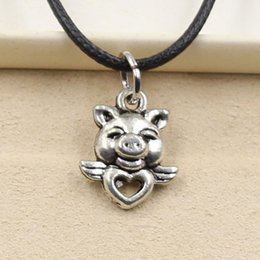 12pcs New Fashion Tibetan Silver Pendant fly pig heart 16*14mm Necklace Choker Charm Black Leather Cord Factory Price Handmade Jewlery