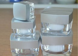30g ACRYLIC white inner with silver Lid square cream bottle cosmetic container cream jar Cosmetic Jar Cosmetic Packaging