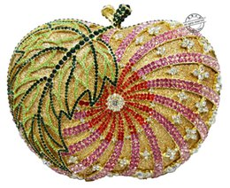 Descuento monederos de las señoras de color beige Mujeres embrague noche bolsa forma de la manzana hecha a mano del diamante de las señoras de cristal bolso velada embrague bolsa de fiesta de la boda pochette