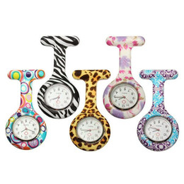 Silicone Nurse watches 8 colors Pocket Watch Candy Colors Zebra Leopard Prints Soft band brooch Nurse Watch for Christmas birthday gift