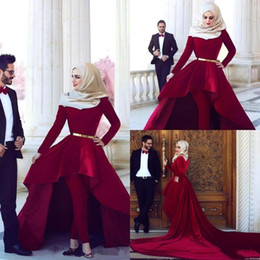 Wholesale 2016 Red Carpet Dresses Arabia Said Mhamad High Neck Hi Lo Velvet Long Sleeves Ball Gown Evening Gowns Pants Prom Dress New Collection