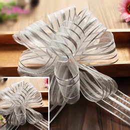 Arcs décorations mariage en Ligne-50pcs ruban de Noël Organza tirez des rubans d'arc Giftwrap Wedding Party favorisent la décoration de boîte de cadeau Scrapbook rayé 5cm * 130cm
