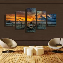 5p modern Home Furnishing HD picture Canvas Print art wall of the sitting room children room decoration theme -- Sea view sailing