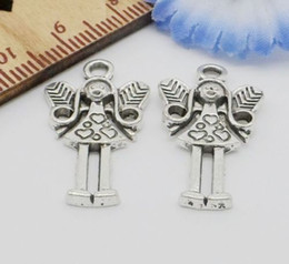 Free Ship 100Pcs Antique Silver fairy angel Charms Pendant For Jewelry Making 25x14mm