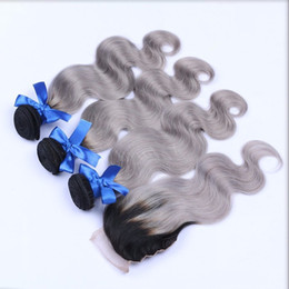 8A Grade Dark Grey Ombre Brazilian Hair 3 Bundles With Lace Closure Ombre Brazilian Body Wave 100% Human Hair Weave With Closure