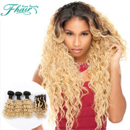 Hot Selling 8A Indian Deep Curly Hair With Closure,3 Bundles With 4*4 Lace Closure 1B 613 Omber Human Hair With Lace Closure