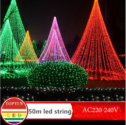 Wholesale String Led Lights Outdoor Wedding - HI-Q waterproof 300 LED String Light 50M 220V-240V Outdoor Decoration Light for Christmas Party Wedding 8Colors Indoor outdoor decoration