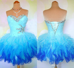 Organza Puffy Short Prom Dresses 2019 Sweetheart Beaded Ruffles Pleated Lace Up Short Sweet 16 Ball Gown Homecoming Dresses Real Photos