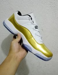 Wholesale 2016 AIR METALLIC GOLD XI LOW CLOSING CEREMONY LIVE AIR XI OLYMPIC JORDaNS GOLD WHITE MENS RETRO Basketball s