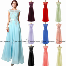 2016 Cheap In Stock Lace Chiffon Cap Sleeve Prom Party Formal Dresses Sheer Neck Coral Royal Blue Dresses Evening Wear