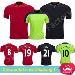 Wholesale Soccer Jersey Green Gerrard Coutinho Henderson Mane football shirts Red Futball Trikot football uniform