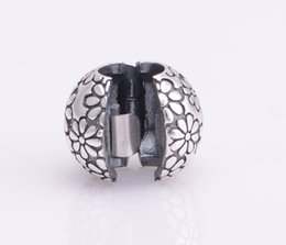 Wholesale S925 Sterling Silver Bead Floral Lock Clip Core Stopper Charms Fits Pandora Charms Bracelet Women DIY Jewelry Making KT085 N