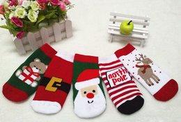 Wholesale 2016 Christmas Themed Children Pure Cotton Cartoon Jacquard Socks Red Christmas Baby Socks Absorb Sweat Permeability Socks one Size