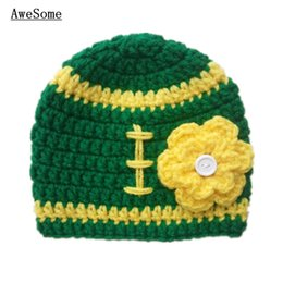 Wholesale Adorable Crochet Green Bay Football Baby Hat Handmade Knit Crochet Baby Girl Sports Beanie Infant Toddler Photography Prop Baby Shower Gifts