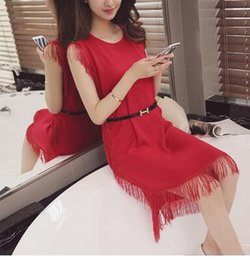 Summer Women Casual Dress Street Fashion Printing Tassel Dress Long Sleeveless Vest Dress New Arrived Free size
