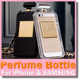 Wholesale Crystal Clear Perfume Bottle Lanyard Chain Case for iphone plus S Samsung S4 S5 Note4 Handbag TPU Transparent Blank Back Cover