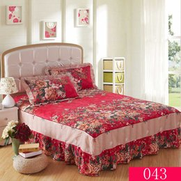 Wholesale 100 Cotton Bedspread Bed Skirts Mattress Cover bedskirts Twin Full Queen King Size bed skirt Home Textiles Bedding X220cm x200cm