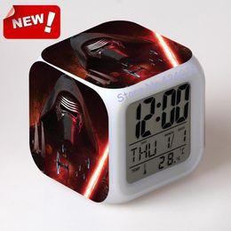 Wholesale 2016 The Force Awakers Star war Alarm Clock Led Light Color Change Projeksiyon Reloj Relogio De Mesa Vintage Table Square Digital Watch Th