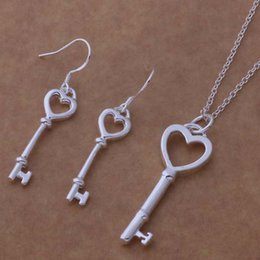 925 Silver Plated Heart Key Earrings Necklace Set 925 Sterling Silver Fashion Necklace Earrings Jewelry Set