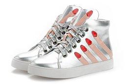 Wholesale Nuevo verano aumentó dentro de la PU de los zapatos ocasionales pesada con el trasero mollete con cordones de zapatos patrón del dedo impermeables Alto Zapatos Mujer